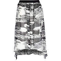 Monochrome abstract print midi skirt
