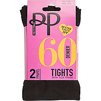 Black Pretty Polly opaque tights pack