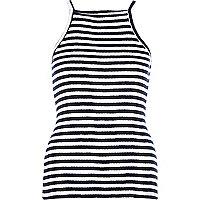 Navy stripe high neck cami top