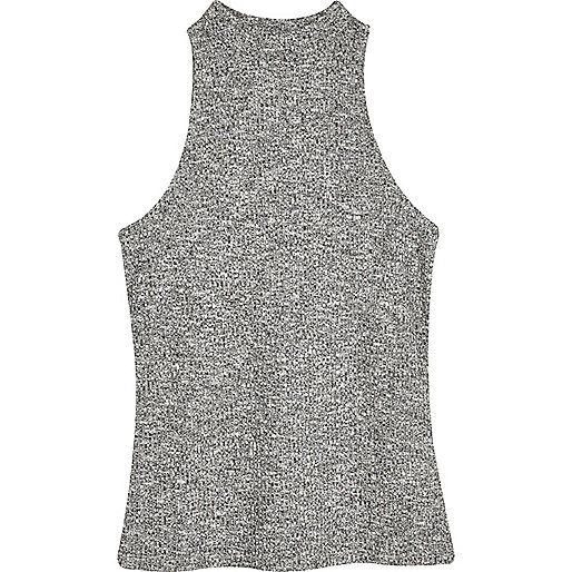 Grey marl ribbed high neck top