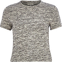 Grey marl crop t-shirt
