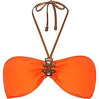 Orange Pacha bandeau bikini top