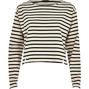 Cream stripe boxy top