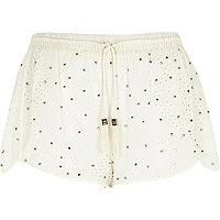 Cream Pacha stud broderie shorts
