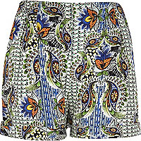 Navy paisley print casual shorts