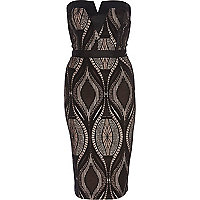 Black lace overlay bandeau pencil dress