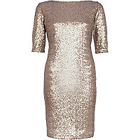 Gold sequin bodycon dress