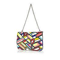 Rainbow bead embellished leather clutch bag