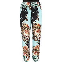 Turquoise floral print joggers