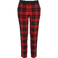 Red check cigarette pants
