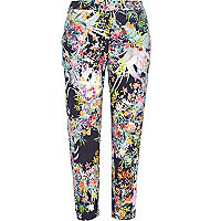Navy floral print cropped trousers