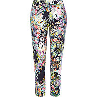 Navy floral slim cigarette pants