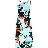 Turquoise floral print cropped jumpsuit