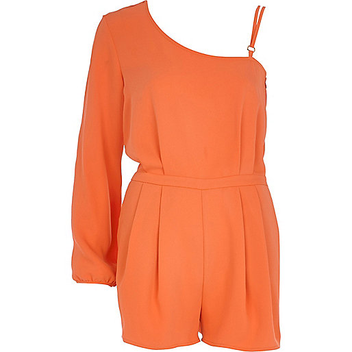 Orange asymmetric smart playsuit
