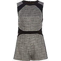 Grey colour block smart playsuit
