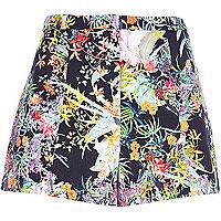 Navy floral print smart shorts