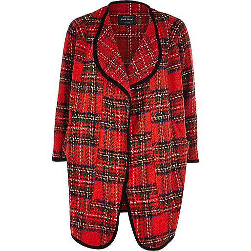 Red tartan waterfall coat