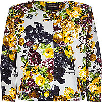 Cream floral print boxy jacket