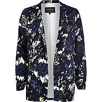 Black blurred floral print blazer