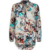 Grey floral print shirt