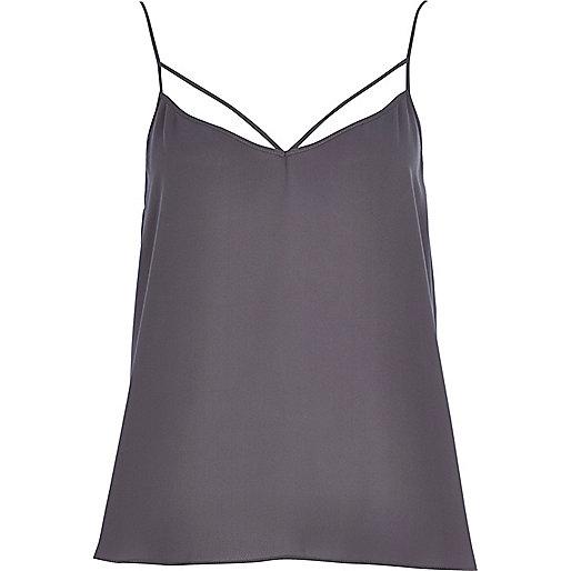 Dark grey strappy cami top