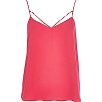 Dark pink strappy cami top