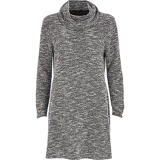 Grey boucle cowl neck knitted swing dress