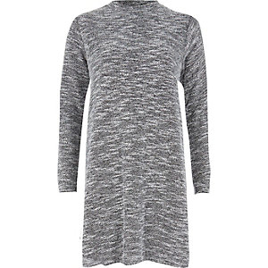 Grey marl boucle turtle neck dress