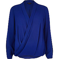 Blue wrap blouse