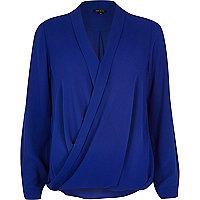 Blue wrap blouse