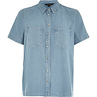 Light wash boxy denim shirt
