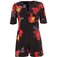 Black floral cut out neckline playsuit