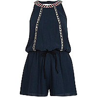Blue casual embellished playsuit