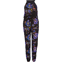 Black floral print high neck jumpsuit