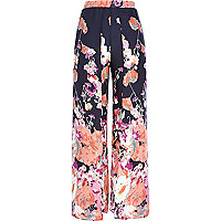 Navy floral print palazzo wrap trousers