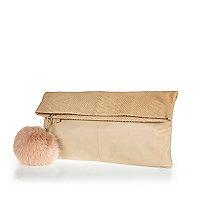Cream leather fold-over pom pom clutch bag
