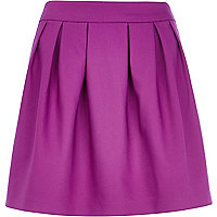 Purple box pleat mini skirt