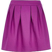 Purple box pleat mini skirt