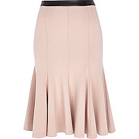 Light pink fit and flare midi skirt