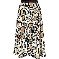 Cream leopard print midi skirt
