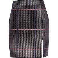 Grey check A-line skirt