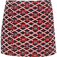 Pink lips print mini skirt