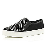 Black diamante studded slip on plimsoll