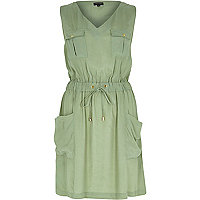Khaki casual waisted dress