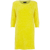 Yellow fluffy knitted 3/4 sleeve dress