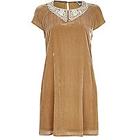 Beige Chelsea Girl velvet swing dress