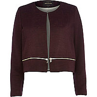 Dark red zip trim boxy jacket