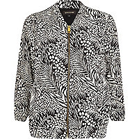 Black tropical print bomber jacket