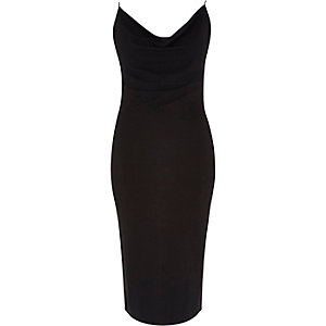 Black jersey drape neck cami dress