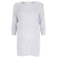 Lilac fluffy knitted dress